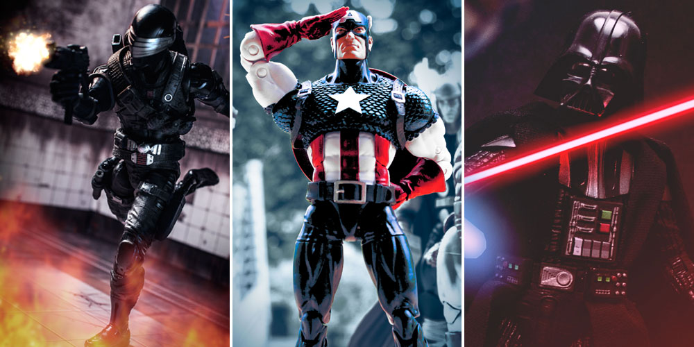 GI Joe Classified Snake Eyes 00, Marvel Legends Captain America - 80th Anniversary, and Star Wars: The Black Series Darth Vader - 40th Anniversary A New Hope