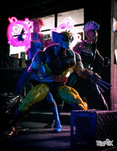 Toypixx Marvel Legends Wolverine, Marvel Legends Dazzler, and Marvel Legends Storm Toy Photography